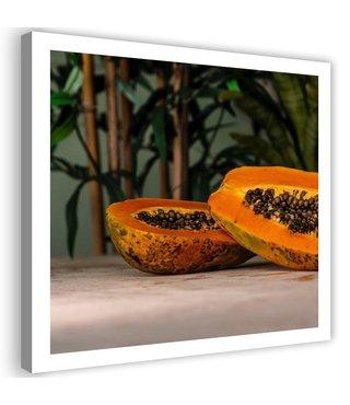 Schilderij Twee halve papaja's, 80x80cm, oranje/bruin
