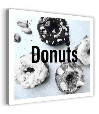 Schilderij Donuts, 80x80cm, zwart/wit