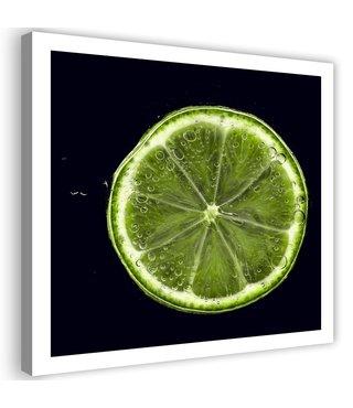 Schilderij Limoen schijf, 80x80cm, groen/zwart