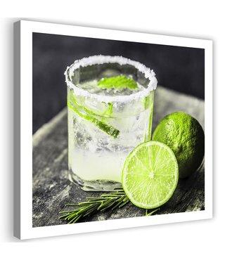 Schilderij Drankje met Limoen, 80x80cm, groen/wit
