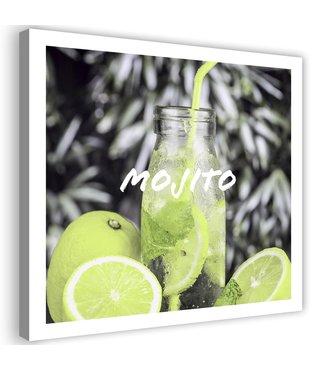Schilderij Mojito, 80x80cm, Groen/wit/zwart