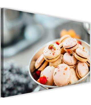 Schilderij Macarons, 2 maten, roze/grijs (wanddecoratie)