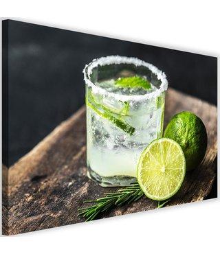 Schilderij Drankje met Limoen, 2 maten, groen/wit (wanddecoratie)