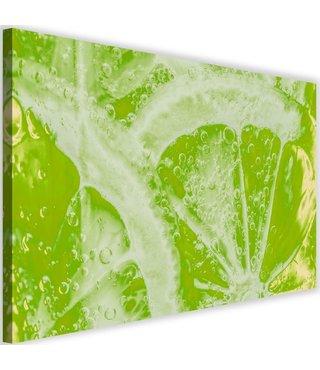 Schilderij Gesneden limoen, 2 maten, groen (wanddecoratie)