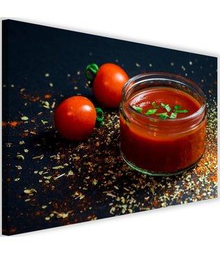 Schilderij Tomaten pasta, 2 maten, rood/zwart (wanddecoratie)