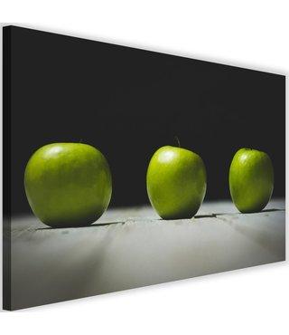 Schilderij Drie groene appels, 2 maten (wanddecoratie)