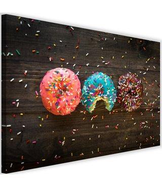 Schilderij Kleurrijke donut, 2 maten (wanddecoratie)
