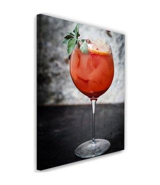 Schilderij Cocktail, 2 maten, rood/grijs (wanddecoratie)