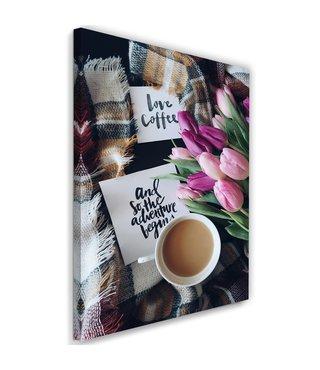 Schilderij Liefde voor koffie, 2 maten (wanddecoratie)