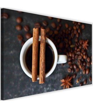 Schilderij Kaneel koffie, 2 maten, bruin/grijs (wanddecoratie)