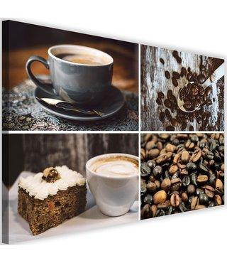 Schilderij Koffie, bonen en gebak, 2 maten (wanddecoratie)