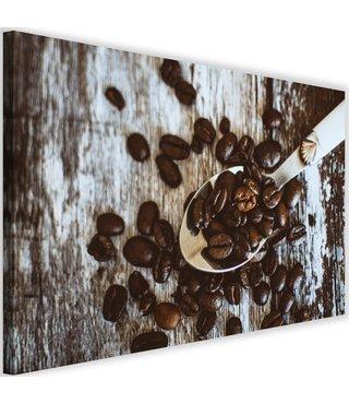 Schilderij koffiebonen op lepel, 2 maten, bruin/grijs (wanddecoratie)