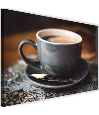 Schilderij Kopje koffie, 2 maten. blauw/bruin (wanddecoratie)