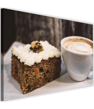 Schilderij Koffie met gebak, 2 maten, bruin/wit (wanddecoratie)