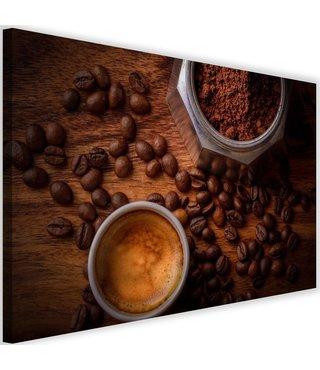 Schilderij Koffie en bonen, 2 maten, bruin (wanddecoratie)