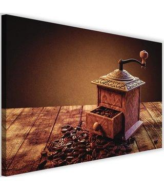 Schilderij Koffie molen, 2 maten, bruin (wanddecoratie)