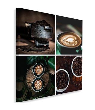 Schilderij Koffie thema, 80x80 bruin/zwart (wanddecoratie)