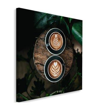Schilderij Artistieke koffie, 80x80, bruin/groen (wanddecoratie)