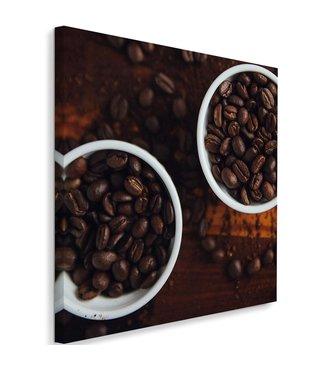 Schilderij Koppen koffiebonen, 80x80, bruin (wanddecoratie)