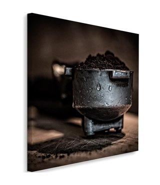 Schilderij Gemalen koffie, 80x80, bruin/zwart (wanddecoratie)