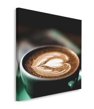 Schilderij Koffie liefde, 80x80 (wanddecoratie)
