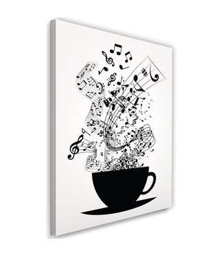 Schilderij Kopje muziek, 2 maten, zwart/wit (wanddecoratie)