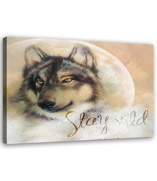 Schilderij Stay Wild Wolf, 2 maten, beige (wanddecoratie)