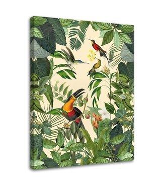 Schilderij Vogel paradijs, 2 maten, groen (wanddecoratie)