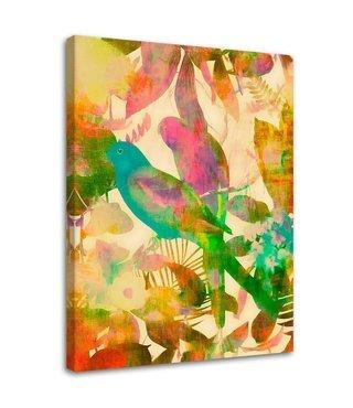 Schilderij Vogels tussen de bladeren. 2 maten, multi-gekleurd (wanddecoratie)
