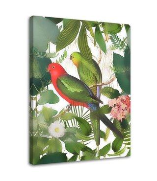 Schilderij Vogels tussen de bladeren. 2 maten, groen (wanddecoratie)