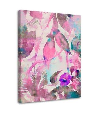 Schilderij Verliefde vogels, 2 maten, roze (wanddecoratie)