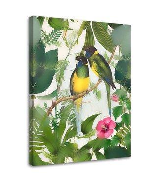 Schilderij Twee vogels, 2 maten, groen (wanddecoratie)