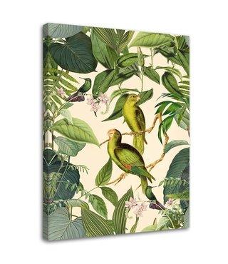 Schilderij Exotische vogels, 2 maten, geel/groen (wanddecoratie)