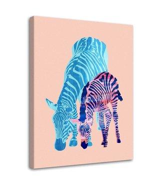 Schilderij Grazende zebra's, 2 maten (wanddecoratie)