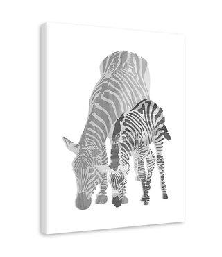 Schilderij Twee zebra's, 2 maten, zwart-wit (wanddecoratie)