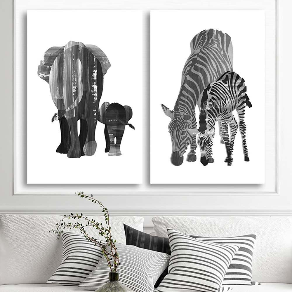 Schilderij Twee Zebra S 2 Maten Zwart Wit Wanddecoratie Tesca Art