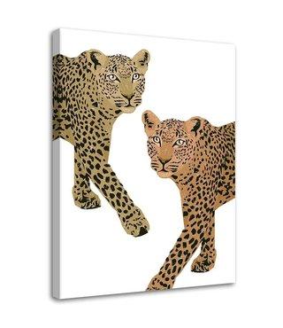 Schilderij Twee luipaarden, 2 maten, Bruin/wit (wanddecoratie)