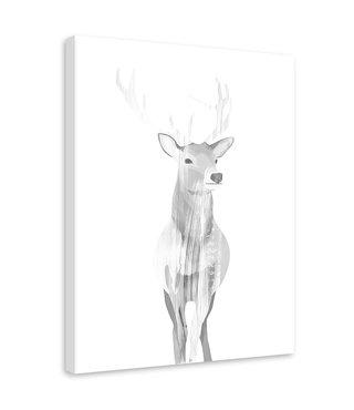 Schilderij Grijs hert, 2 maten (wanddecoratie)