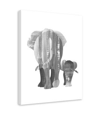 Schilderij Wandelende olifanten, 2 maten, zwart-wit (wanddecoratie)