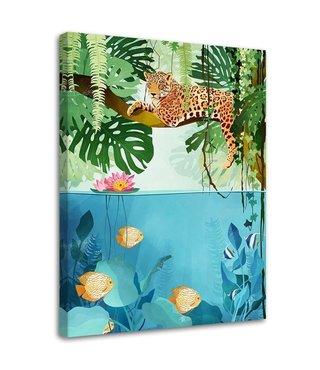 Schilderij Jaguar boven het water, 2 maten (wanddecoratie)