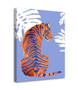 Schilderij De tijger, 2 maten, oranje/paars (wanddecoratie)