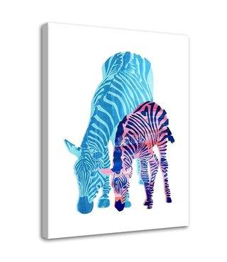 Schilderij Kleurrijke zebra, 2 maten (wanddecoratie)