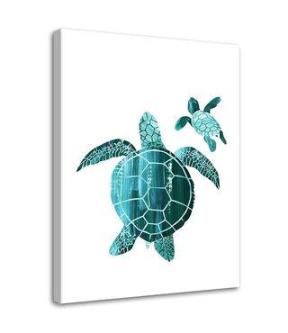 Schilderij Zee schildpadden, 2 maten, wit/blauw (wanddecoratie)