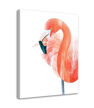 Schilderij Flamingo, 2 maten, roze/wit (wanddecoratie)