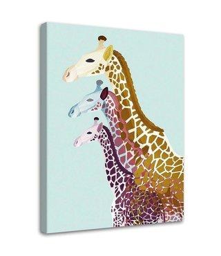 Schilderij Drie kleurrijke giraffen, 2 maten (wanddecoratie)