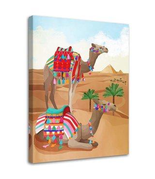 Schilderij Kamelen, 2 maten, beige (wanddecoratie)