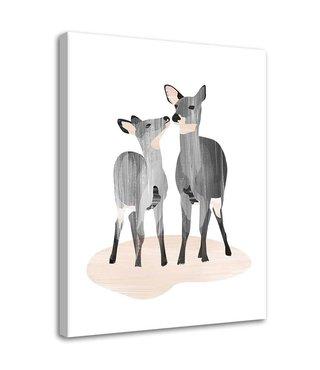 Schilderij Twee herten, 2 maten (wanddecoratie)