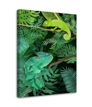 Schilderij Chameleons, 2 maten, groen (wanddecoratie)