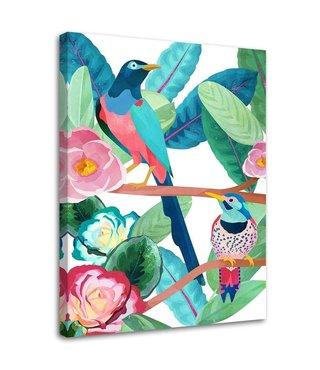 Schilderij Kleurrijke vogels, 2 maten (wanddecoratie)