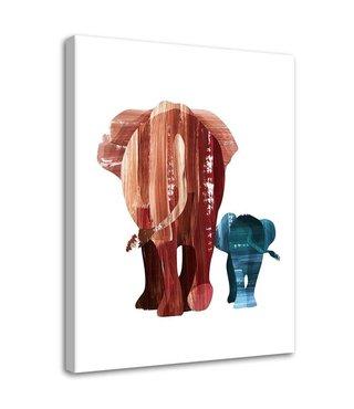 Schilderij wandelende olifanten, 2 maten, bruin/blauw/wit (wanddecoratie)